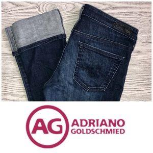 AG | The Stevie Slim Straight Cuffed Dark Wash